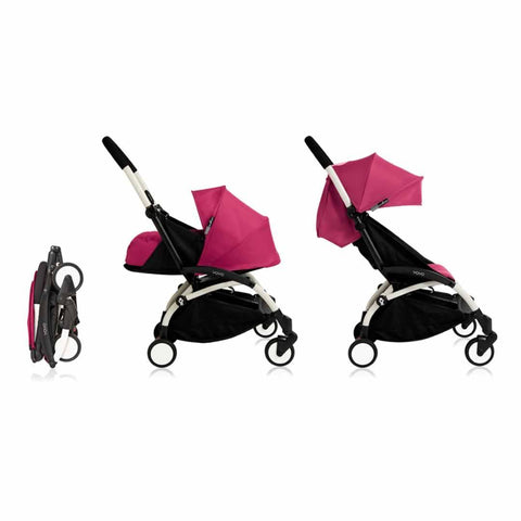 Babyzen YoYo Plus Complete Stroller - White with Pink - Strollers - Natural Baby Shower