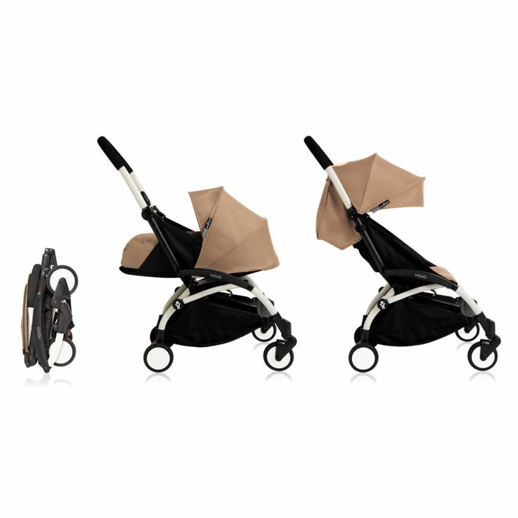 babyzen yoyo plus complete stroller in white with taupe natural baby shower. Black Bedroom Furniture Sets. Home Design Ideas