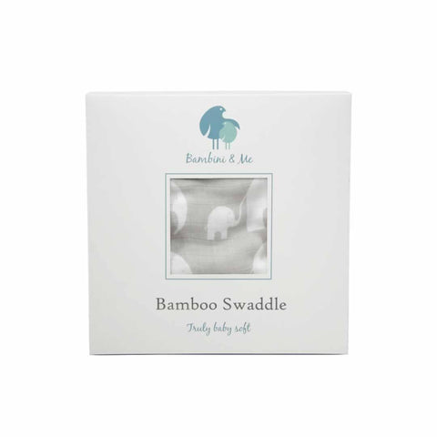 Bambini & Me Bamboo Swaddle - Elephant - Swaddling Wraps - Natural Baby Shower