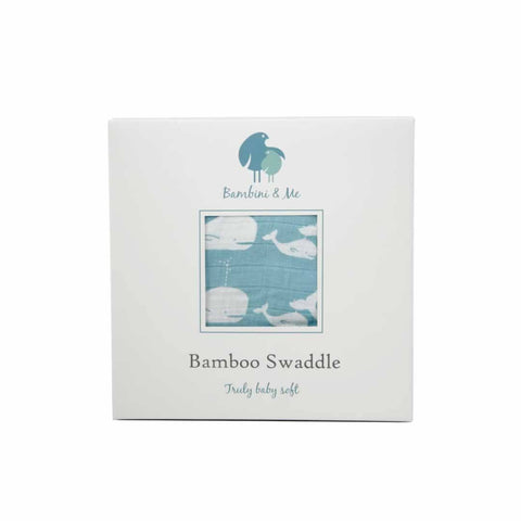 Bambini & Me Bamboo Swaddle - Whale - Swaddling Wraps - Natural Baby Shower