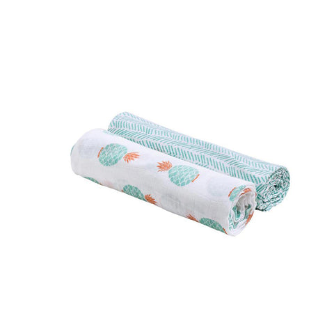 Bebe Au Lait Classic Muslin Swaddle Set - Oahu + ZigZag-Swaddling Wraps- Natural Baby Shower