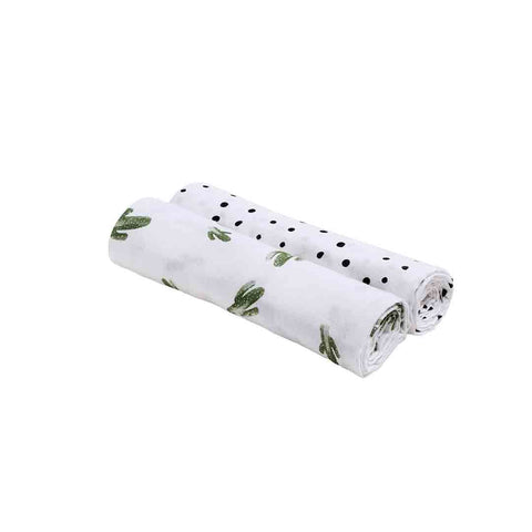 Bebe Au Lait Oh So Soft Muslin Blanket Swaddle Set - Dottie + Saguaro