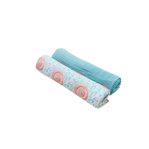 Bebe Au Lait Oh So Soft Muslin Blanket Swaddle Set - Fresco + Lagoon