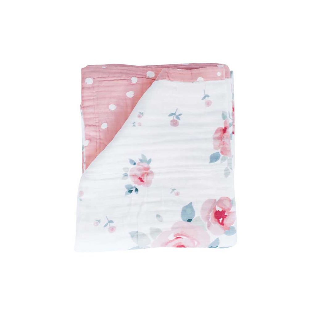 Bebe Au Lait Oh So Soft Snuggle Blanket - Rosy + Dewdrops-Blankets- Natural Baby Shower