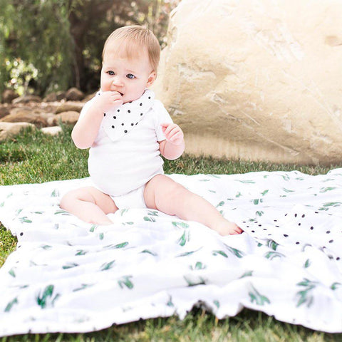 Bebe Au Lait Oh So Soft Snuggle Blanket - Saguaro + Dottie-Blankets- Natural Baby Shower