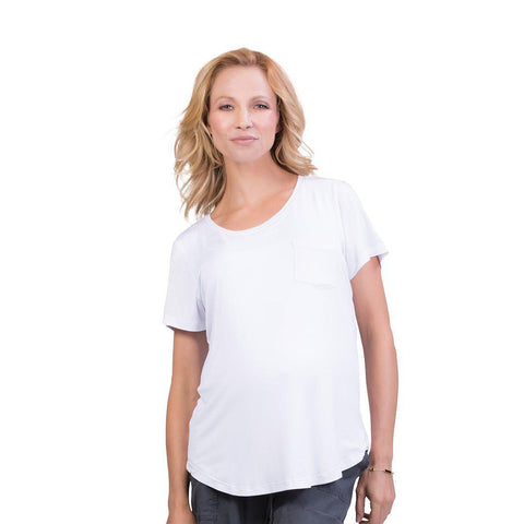 Belly Bandit Perfect Nursing Tee - White-Maternity Tops- Natural Baby Shower