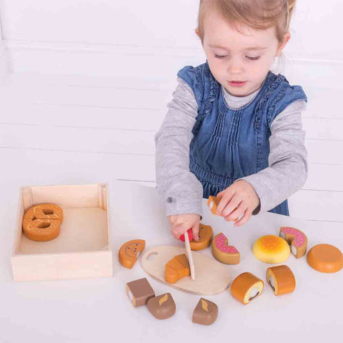 BigJigs Cutting Bread and Pastries Crate-Play Sets-Default- Natural Baby Shower