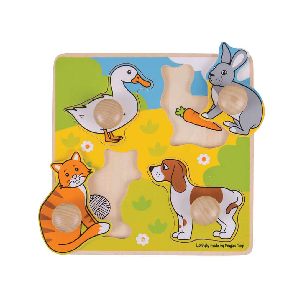 BigJigs My First Peg Puzzle - Pets-Puzzles-Default- Natural Baby Shower