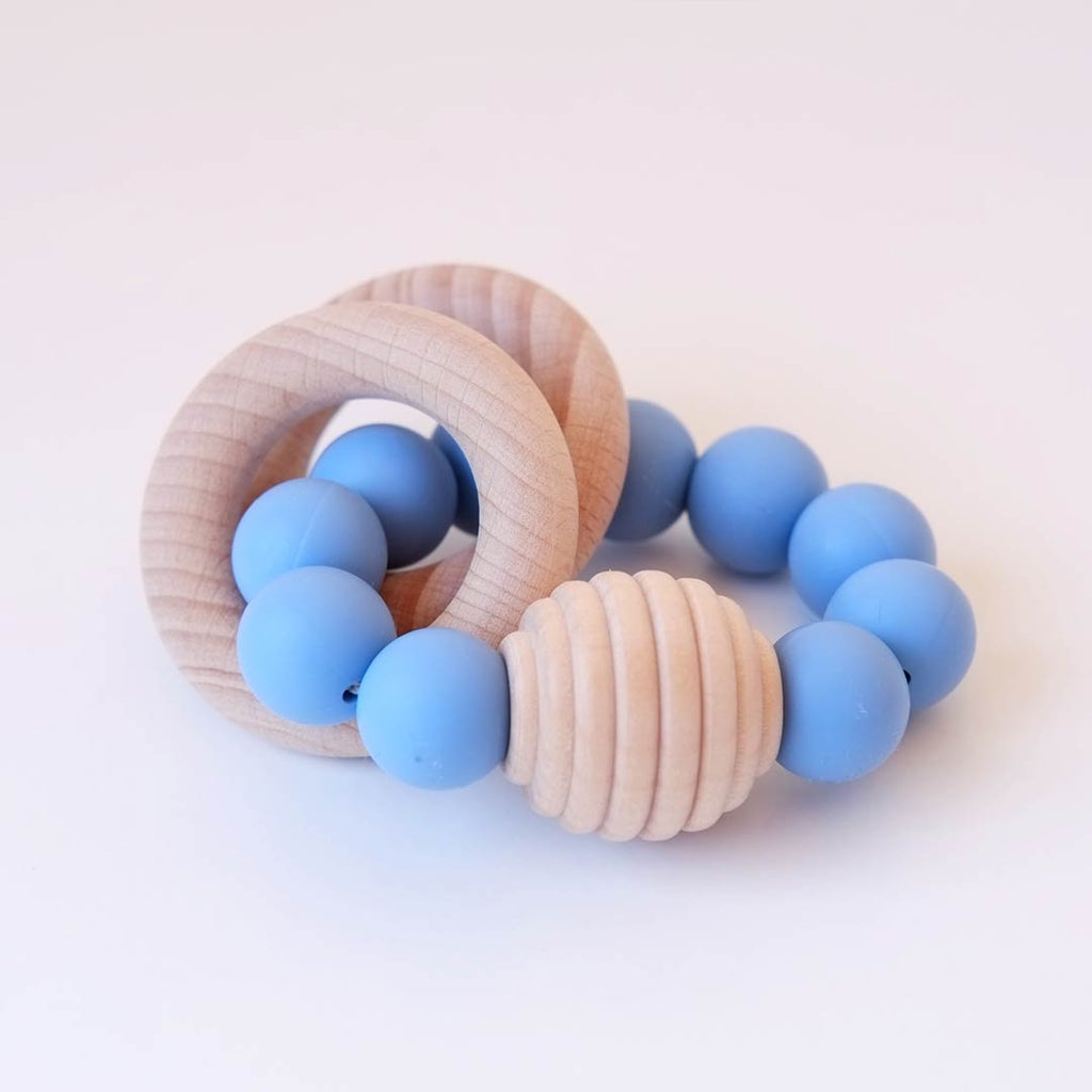Blossom & Bear Beehive Teething Ring - Blue-Teethers-Blue- Natural Baby Shower