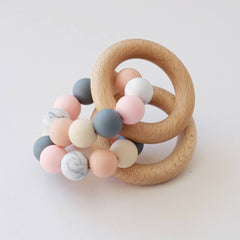 Blossom & Bear Colour Mix Ring Teether - Peach