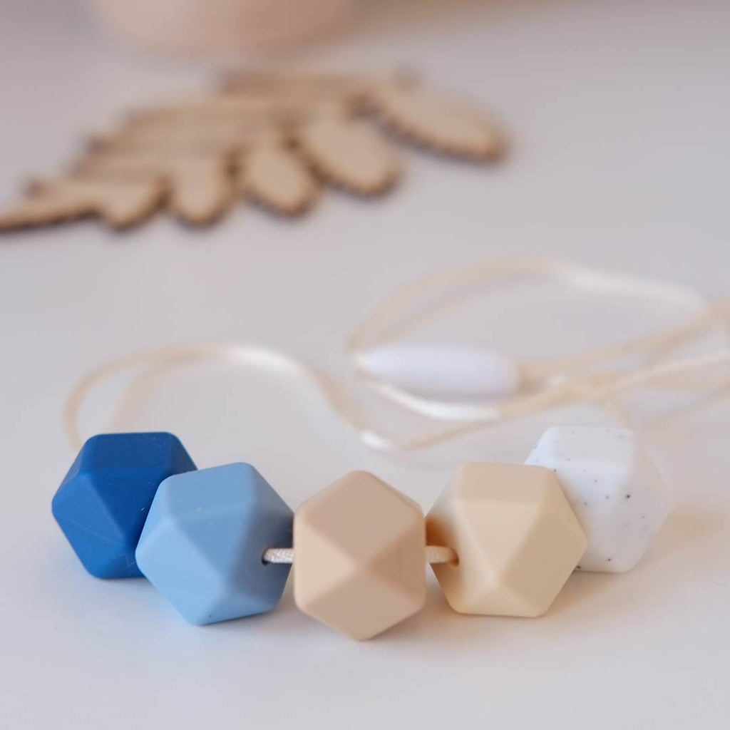 Blossom & Bear Hexagon Teething Necklace - Blue Mix-Jewellery-Blue Mix- Natural Baby Shower