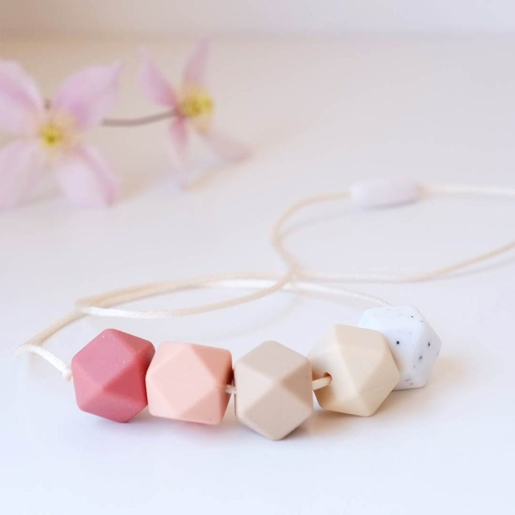 Blossom & Bear Hexagon Teething Necklace - Rust Mix-Jewellery-Rust Mix- Natural Baby Shower