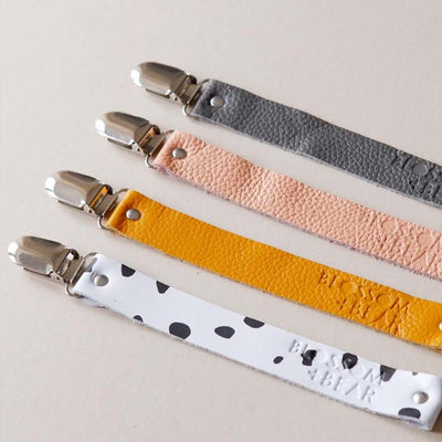 Blossom & Bear Leather Dummy Strap - Charcoal-Dummy Chains- Natural Baby Shower