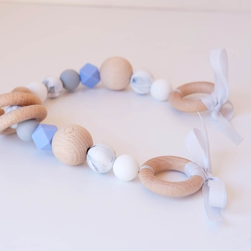 Blossom & Bear Pram Garland - Blue Pop-Pram Strings-Blue Pop- Natural Baby Shower