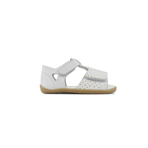 Bobux Open Sandals - White + Gold Spots