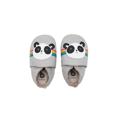 Bobux & The Bonnie Mob Soft Sole Peace Panda - Light Grey-Soft Soles- Natural Baby Shower