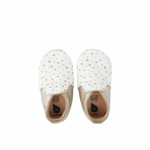 Bobux Special Edition City Range Shoes in White & Gold Dots