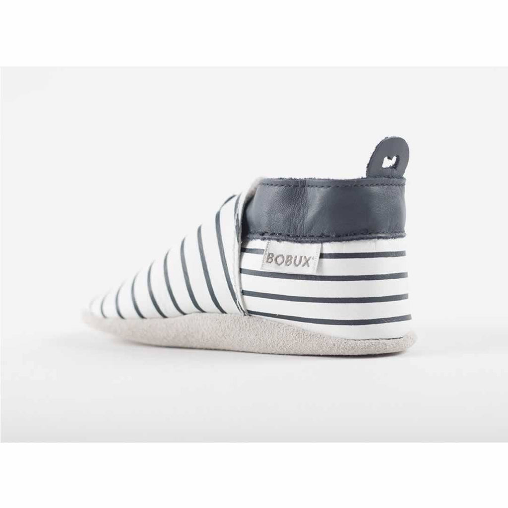 Bobux Shoes - White + Navy Stripes Back