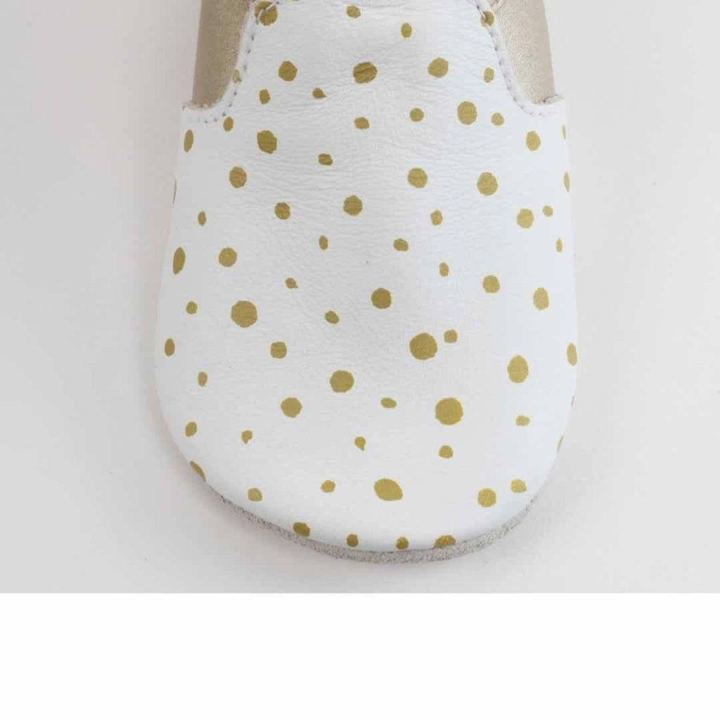 Bobux Special Edition City Range Shoes White & Gold Dots