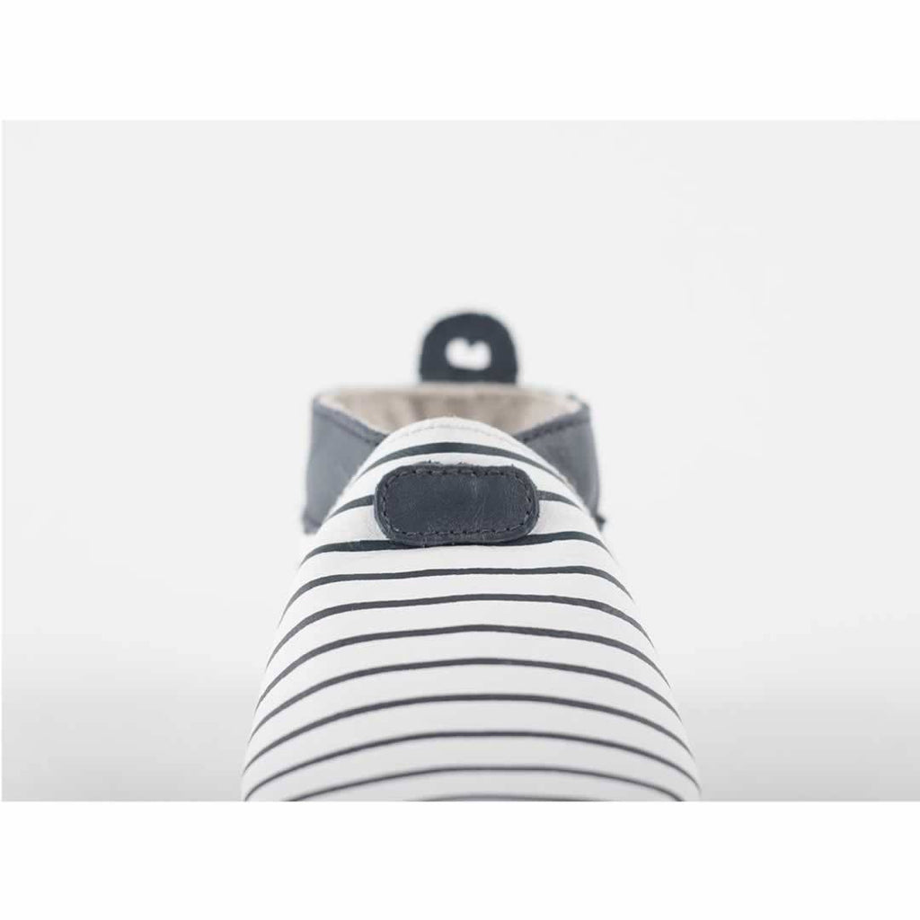 Bobux Shoes - White + Navy Stripes Front