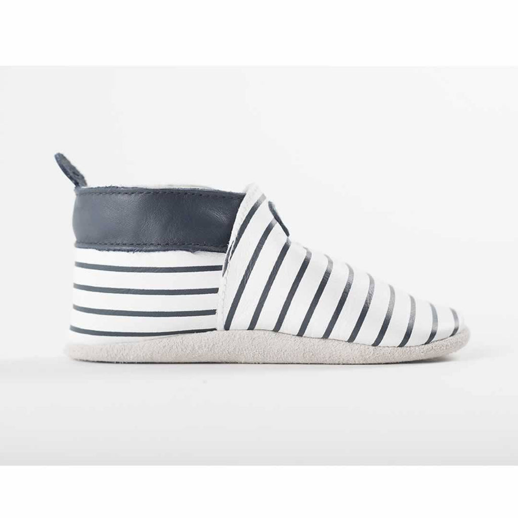 Bobux Shoes - White + Navy Stripes Side