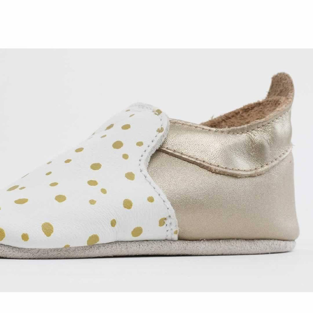 Bobux Special Edition City Range Shoes - White & Gold Dots Side