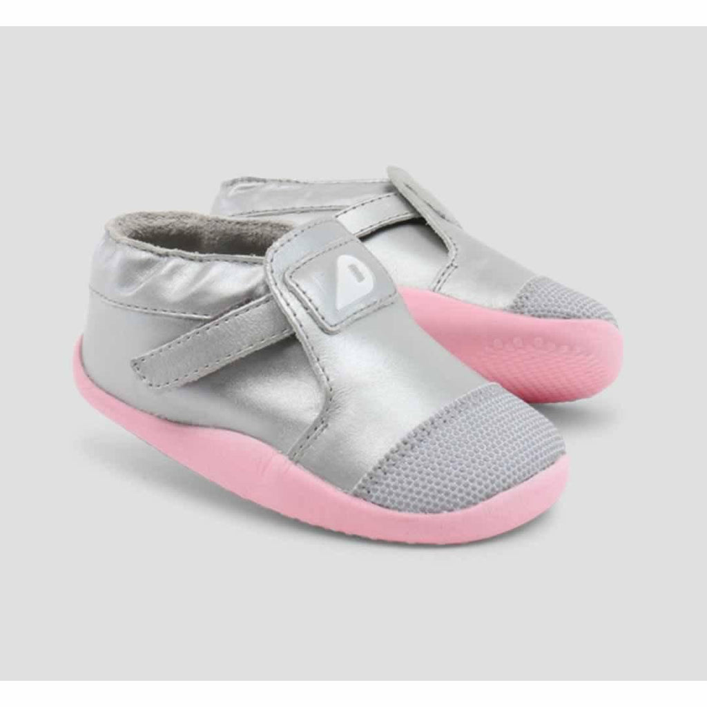 Bobux Xplorer Origin Shoes - Silver + Ice Pink Front