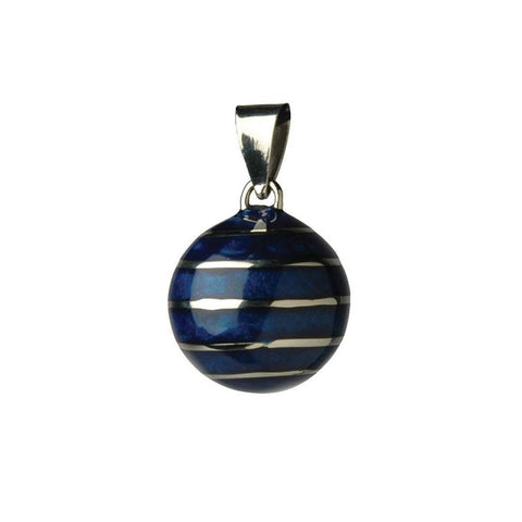 Bola Necklace Pendant in Blue Lines