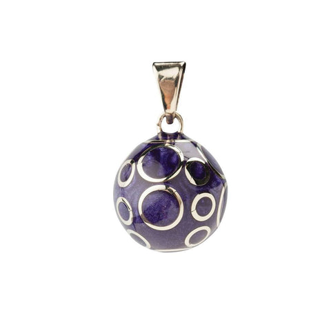 Bola Necklace Pendant Purple with Circles