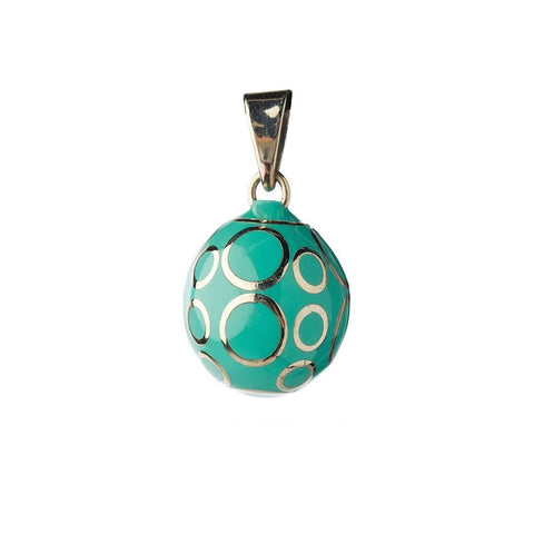 Bola Necklace Pendant Turquoise with Circles