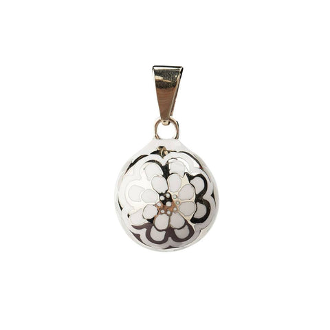 Bola Necklace Pendant in White Flower