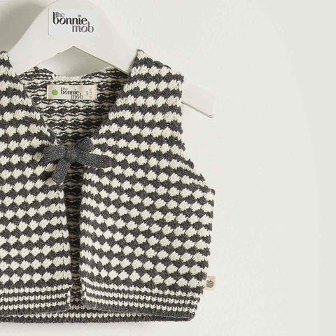 Bonnie Mob Chunky Knitted Gilet Kids - Monochrome-Coats & Snowsuits-2-3y-Monochrome- Natural Baby Shower
