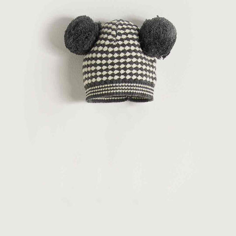 Bonnie Mob Chunky Knitted Hat with Pom Pom Ears Kids Monochrome