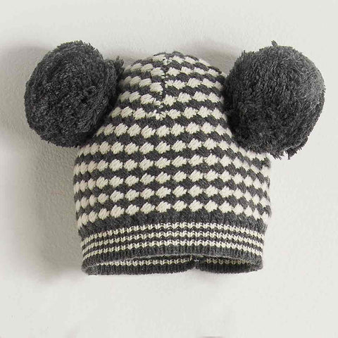 Bonnie Mob Chunky Knitted Hat with Pom Pom Ears Kids - Monochrome