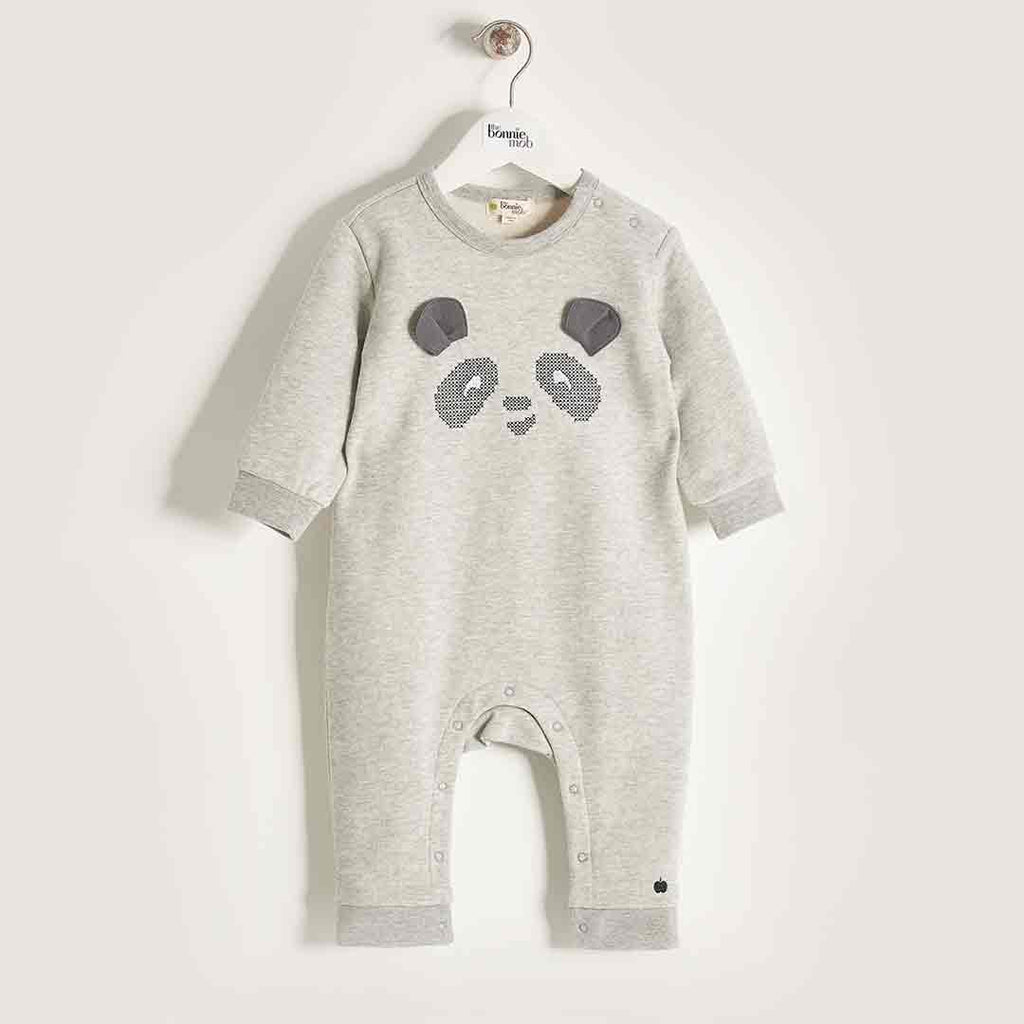 Bonnie Mob Cross Stitch Panda Romper - Grey-Rompers- Natural Baby Shower