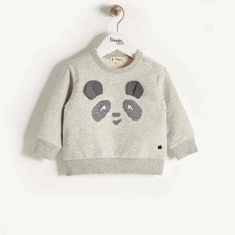 Bonnie Mob Cross Stitch Panda Sweatshirt - Grey
