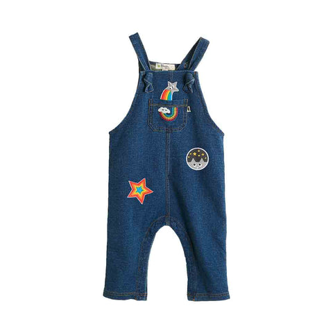Bonnie Mob Disco Badge Denim Terry Dungarees - Denim-Dungarees- Natural Baby Shower