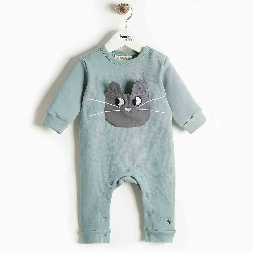 Bonnie Mob Felix Cat Pocket Playsuit - Teal 2