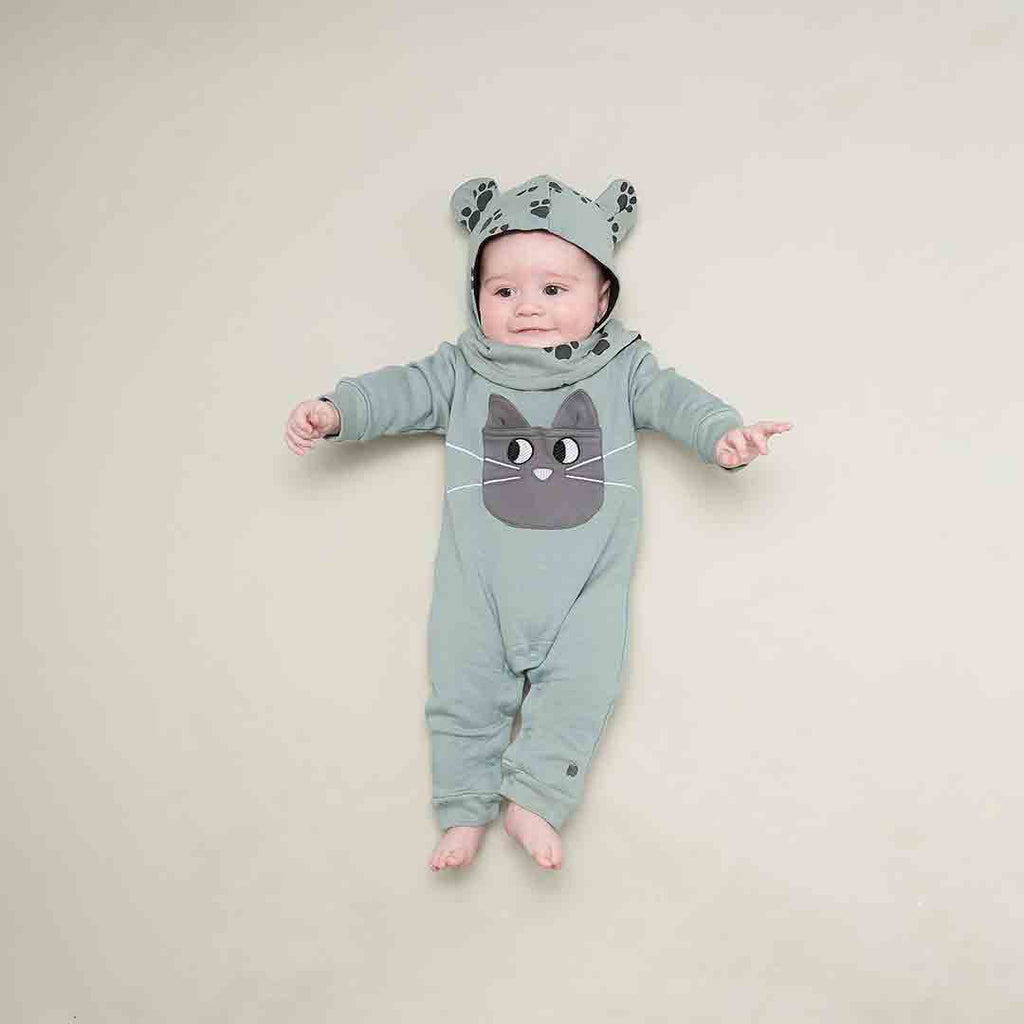 Bonnie Mob Felix Cat Pocket Playsuit - Teal-Rompers- Natural Baby Shower