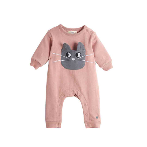 Bonnie Mob Felix Cat Pocket Playsuit - Pink-Rompers- Natural Baby Shower
