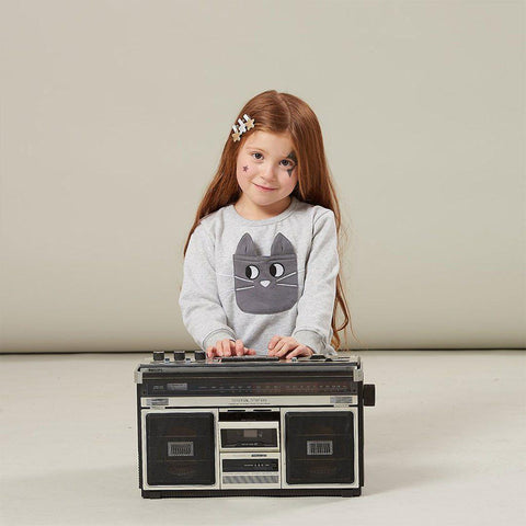 Bonnie Mob Flashy Cat Pocket Sweatshirt - Grey-Long Sleeves- Natural Baby Shower