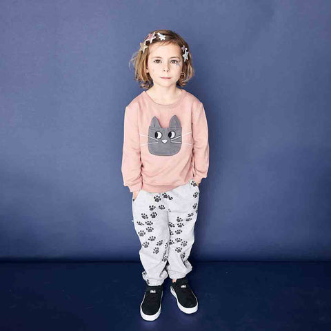 Bonnie Mob Flashy Cat Pocket Sweatshirt - Pink-Long Sleeves- Natural Baby Shower