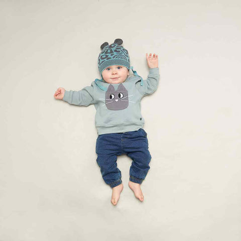 Bonnie Mob Flashy Cat Pocket Sweatshirt - Teal-Long Sleeves- Natural Baby Shower