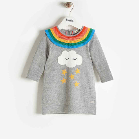 Bonnie Mob Grace Rainbow Frill Dress - Grey-Dresses- Natural Baby Shower