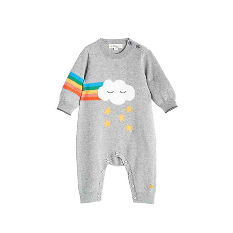 Bonnie Mob Graffiti Rainbow Cloud Intarsia Playsuit - Grey-Rompers- Natural Baby Shower