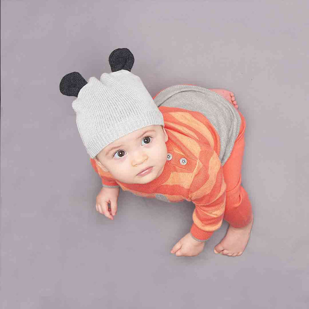 Bonnie Mob Hat with Ears - Pale Grey Lifestyle