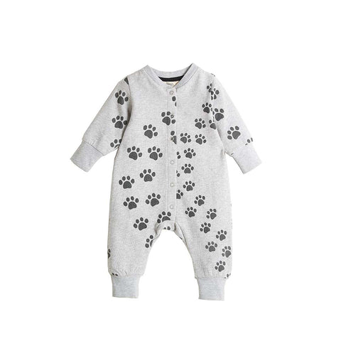Bonnie Mob Hip Hop Playsuit - Grey Paws-Rompers- Natural Baby Shower