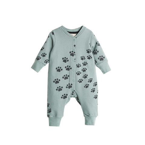 Bonnie Mob Hip Hop Playsuit - Teal Paws-Rompers- Natural Baby Shower
