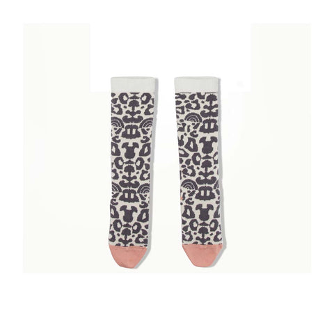 Bonnie Mob Nori Leopard Knee Length Socks - Pale Grey-Socks- Natural Baby Shower