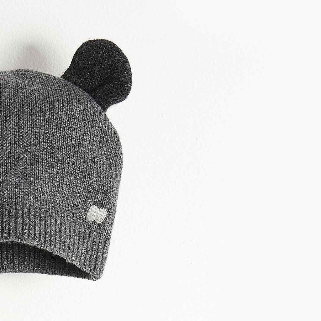 Bonnie Mob Puff Hat with Ears - Dark Grey-Hats- Natural Baby Shower